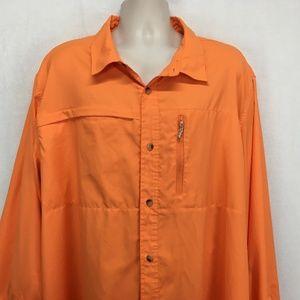 Magellan Mens 3XL Button Shirt Vented Orange